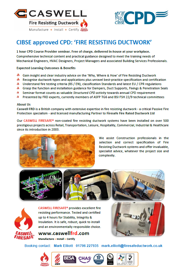 CASWELL Fire Resisting Ductwork CPD offering in association with Firesafe Fire Rated Ductwork Ltd