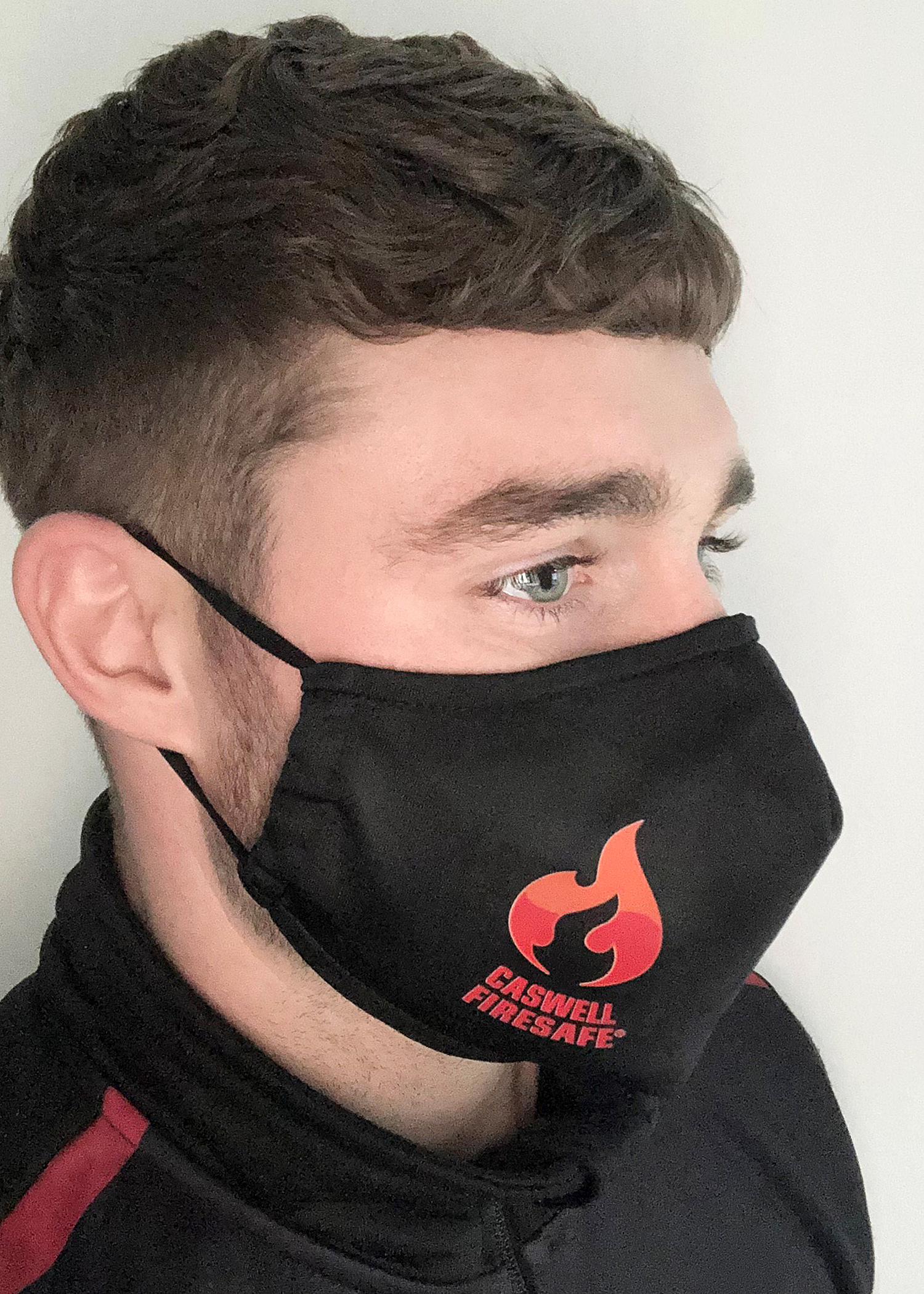 George Lowthion wearing Caswell Firesafe Mask